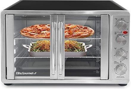 Elite Gourmet ETO-4510M Double French door Countertop Convection Toaster Oven